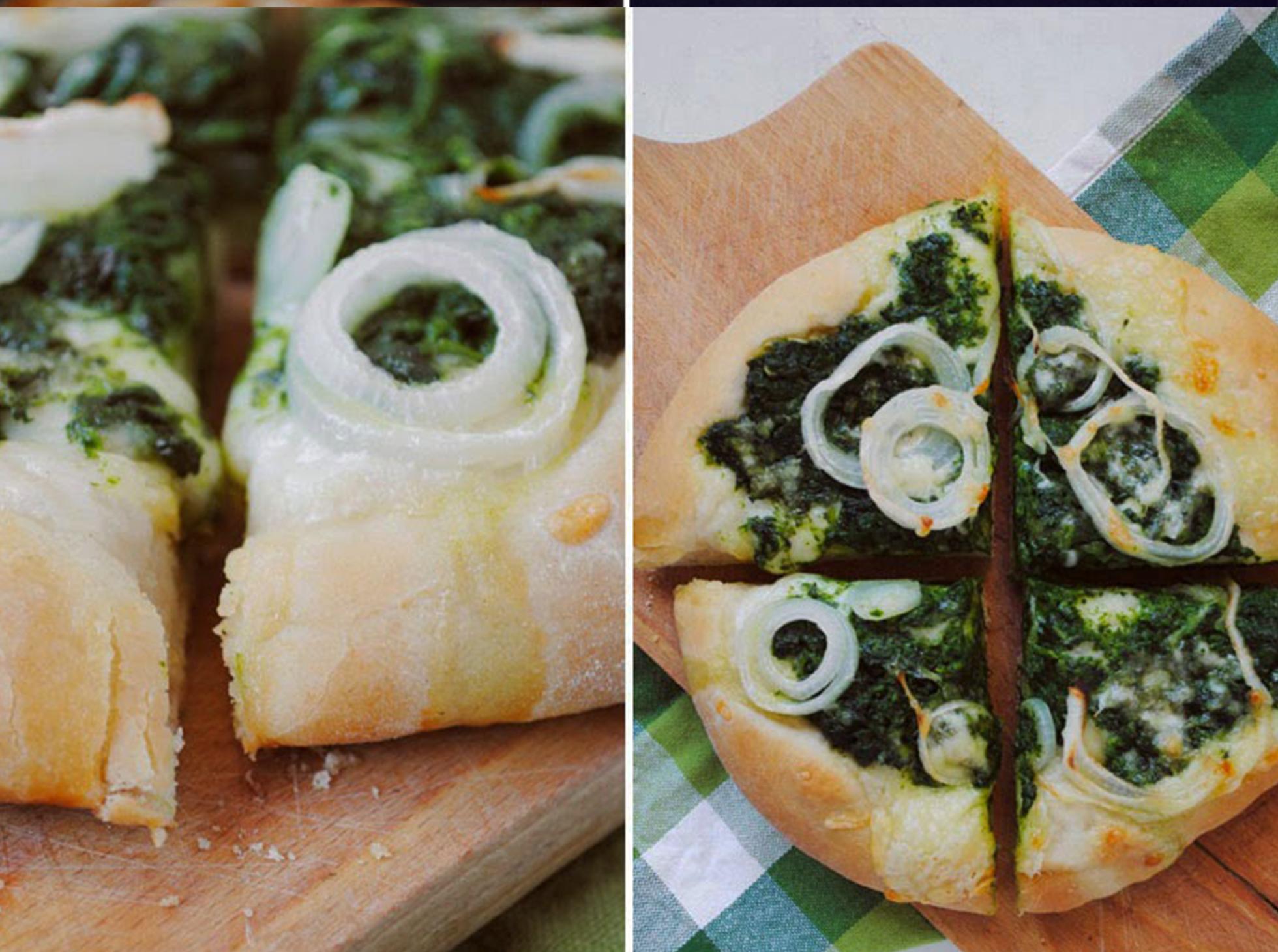 Domowa pizza ze szpiankiem i cebulą