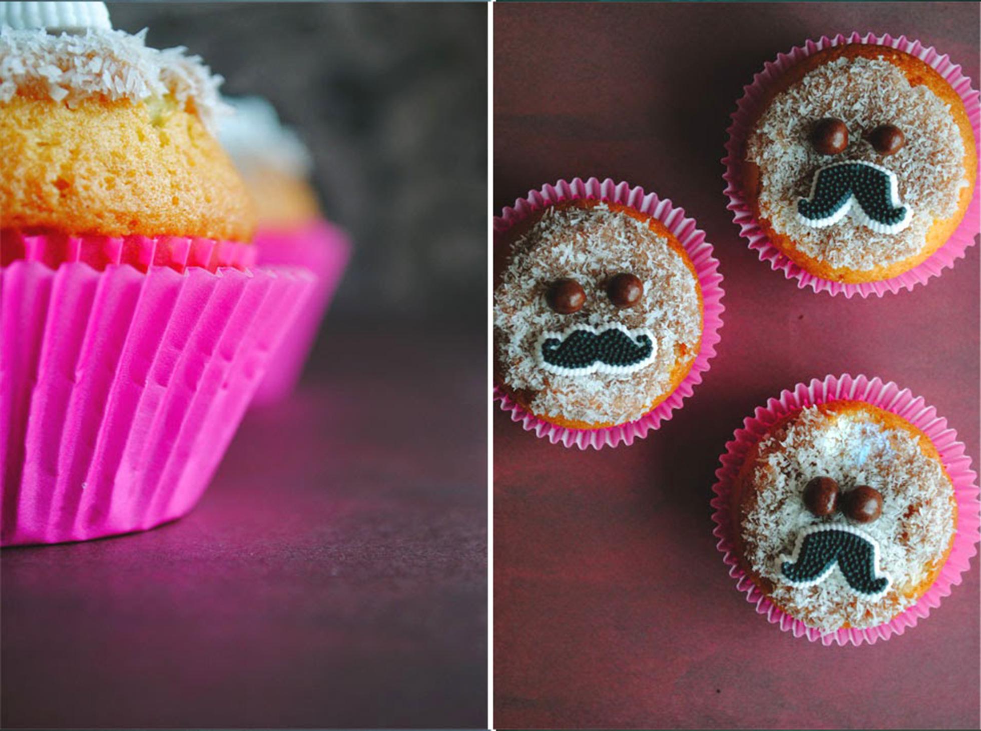 Muffinki z bananem i lukrową ozdobą